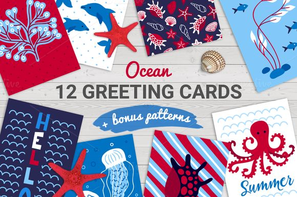 12 Cards + Bonus Patterns by miumiu on @creativemarket