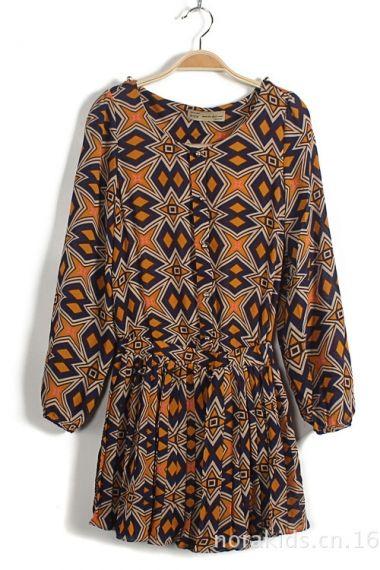 Geometrical Print Chiffon Dress