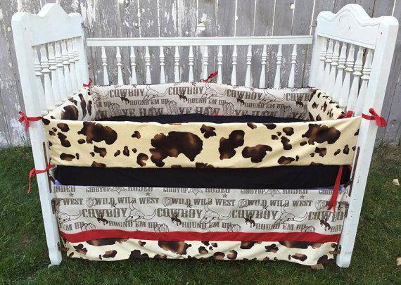 western baby bedding | Western Baby Bedding/Crib Set/Cowboy and Cow Print/ 3 Piece Set