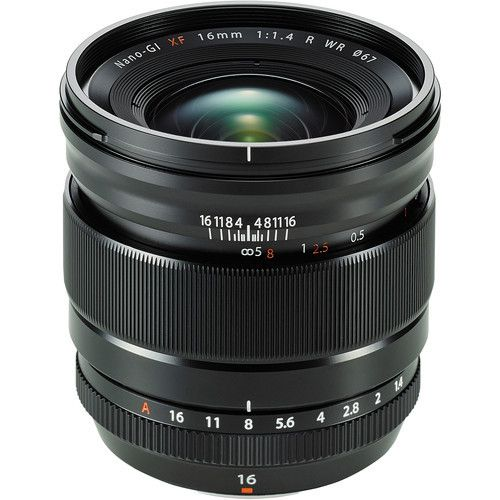 Fujinon XF 16mm F/1.4R Lens - FJ3407 Product Overview The XF16mmF1.4R WR lens has a fixed focal length of 16mm (24mm in 35mm format equivalent) and offers a dramatic wide field of view and stunning op