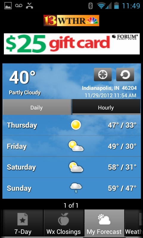 Forecast in the WTHR Android app Weather Apps Android