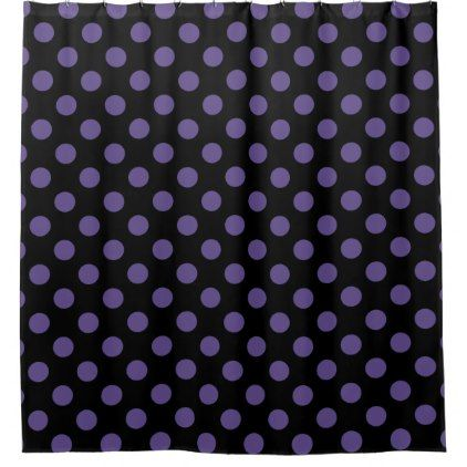 Ultra violet polka dots on black shower curtain - shower curtains home decor custom idea personalize bathroom