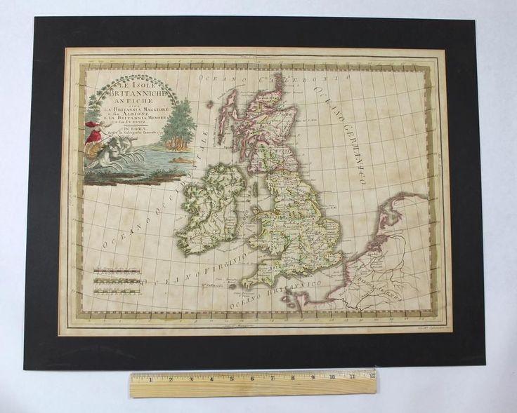 18thC Antique G.CASSINI Italian Map Engraving British Isles LE ISOLE BRITANNICHE #GCASSINI