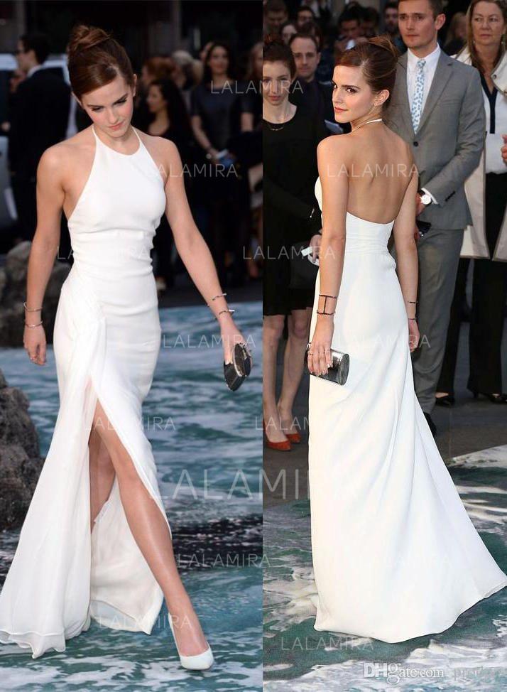 Fashion Chiffon Evening Dresses Sheath/Column Floor-Length Halter Sleeveless #14…