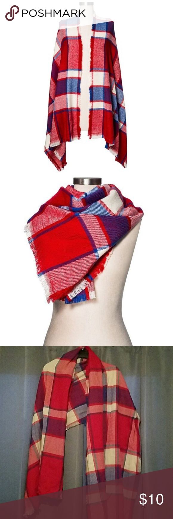 Merona Plaid Blanket Scarf Beautiful red plaid blanket scarf from Merona. NWOT. Measurements upon request. Open to reasonable offers. Merona Accessories Scarves & Wraps