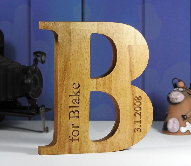 Personalised Christening gift, big free standing wooden letter, baby sign, carved nursery sign for boys, hardwood letter, natural wood by MikesFineDesigns on Etsy
