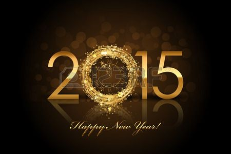 Vector 2015 Šťastný Nový Rok pozadí se zlatou hodinami Reklamní fotografie