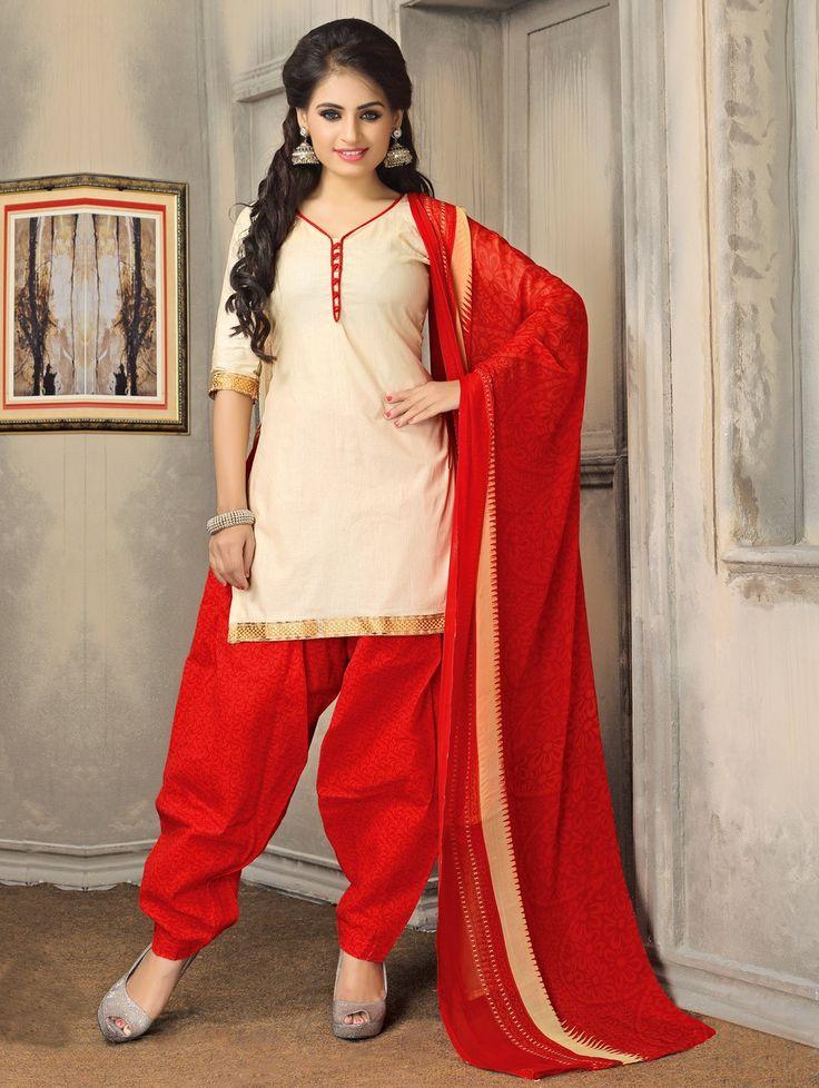 Cream Cotton Suit with Zari Work
