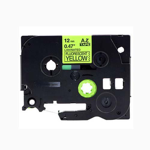 """Brother TZe-C31 P-Touch Label Tape, 12mm  (0.5"""") Fluorescent Black on Yellow, Compatible"""