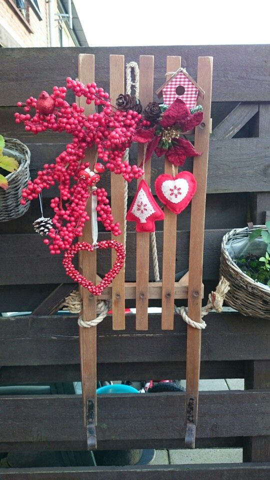Old sledge,  decorated for Christmas in the garden
