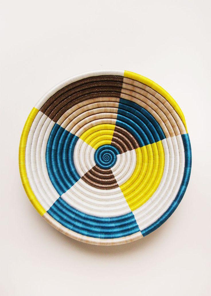 Color Block Plateau Basket - Teal
