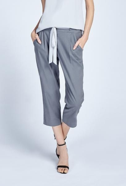 Noel Asmar Fashion, Liberty Linen Trouser in Grigio. Spring/Summer 2017. Dress up for work travel or styled for a relaxing retreat.