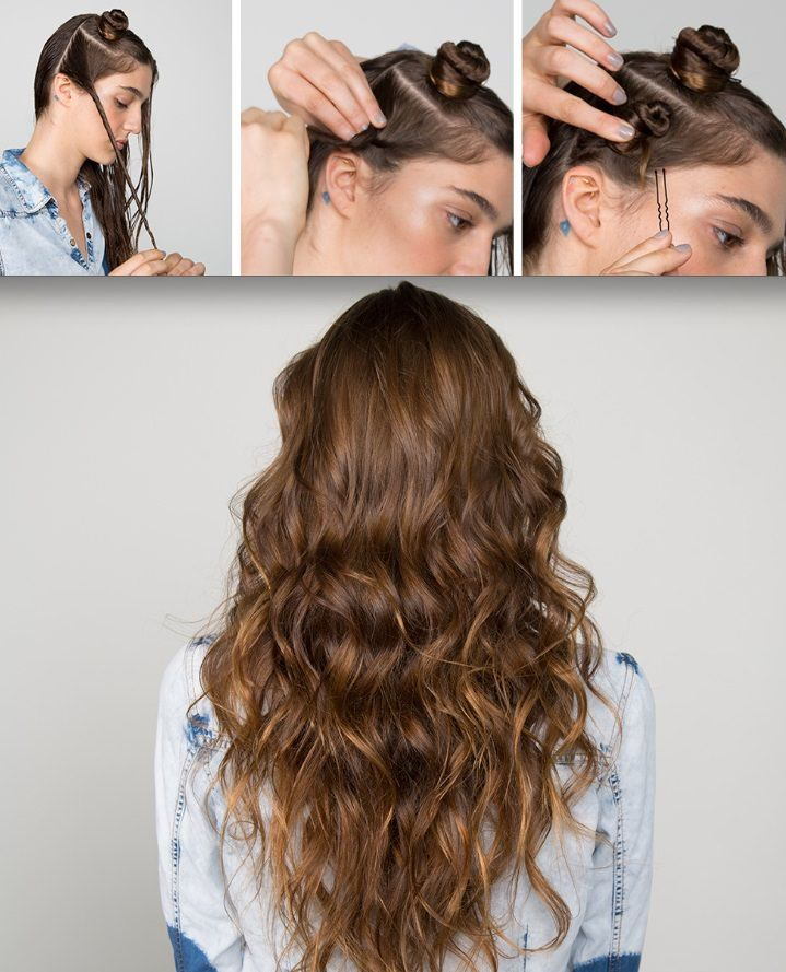 mini buns beach waves hair feminine