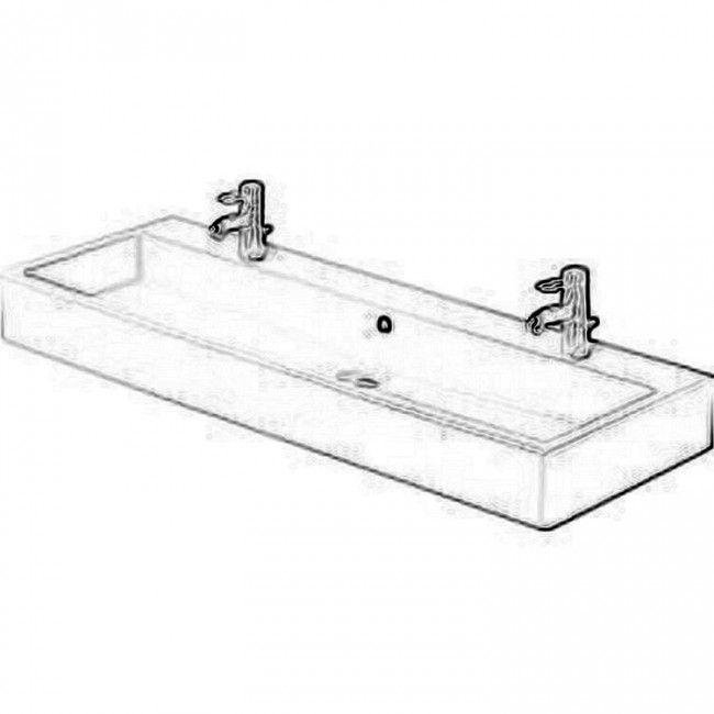 duravit vero 47 x 18 washbasin with two holes in white - Duravit Sink