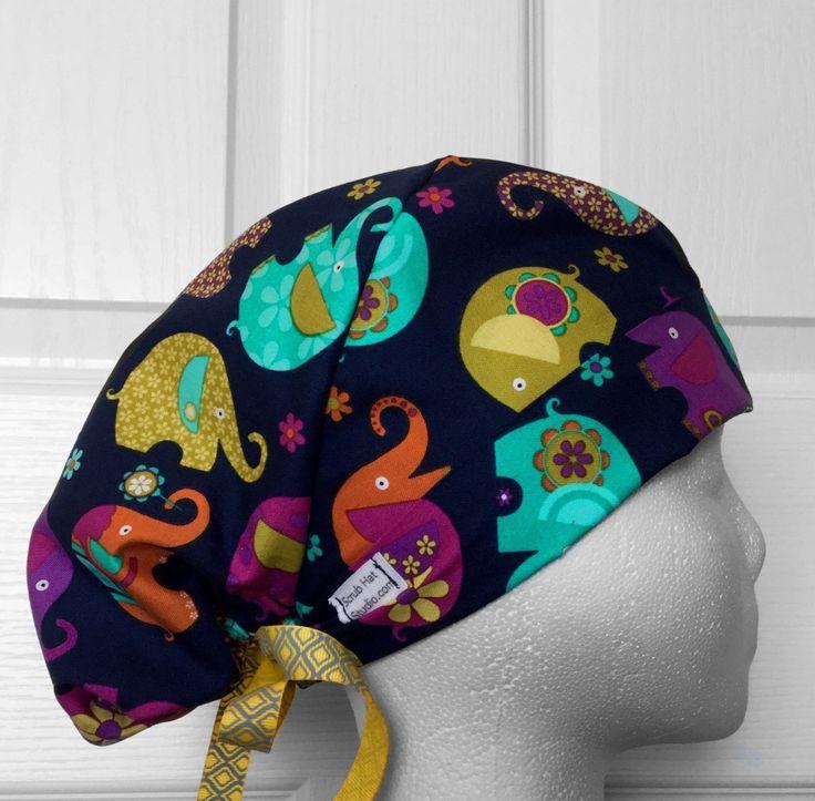 Elephants Tie Back Scrub Hat