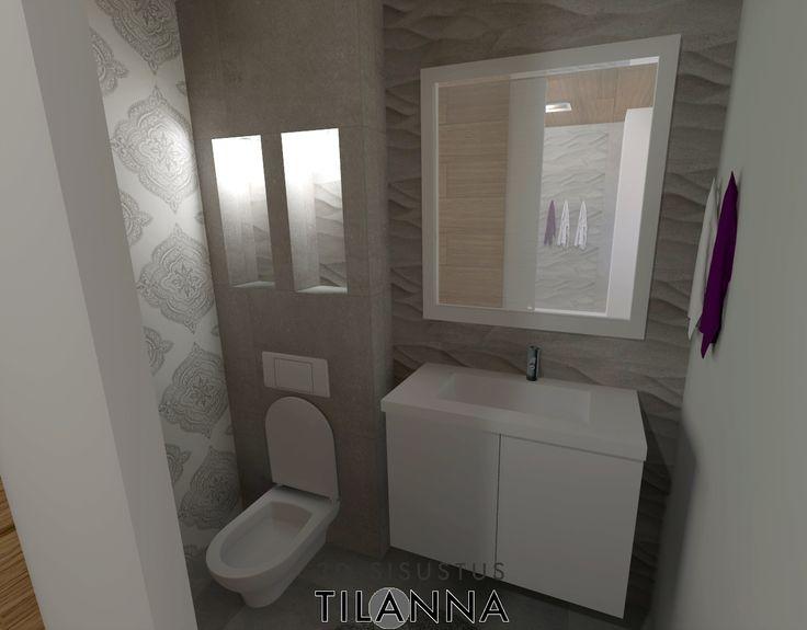 3D- sisustussuunnittelu / harmaa, moderni-skandinaavinen wc, seinä wc, aaltoileva harmaa laatta, valaistut syvennykset, tapetti päätyseinässä, grey, modern - scandinavian bathroom, toilet / 3D-sisustus Tilanna, sisustussuunnittelija Jyväskylä
