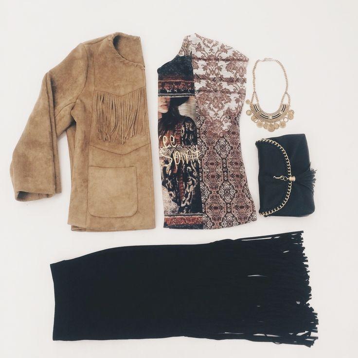 Fringe jacket | Suedine fringe skirt | Fashion | Plussize fashion | Jasje met franjes | Rok