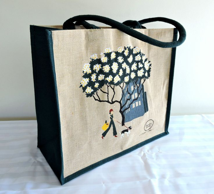 Frangipani Tree - This fabulous subtropical tree has a stunning flower and is seen in many Sydney-siders front and back yards.  39 x 36 x 18cm natural jute cotton (juco) material, dark green cord handles and gusset