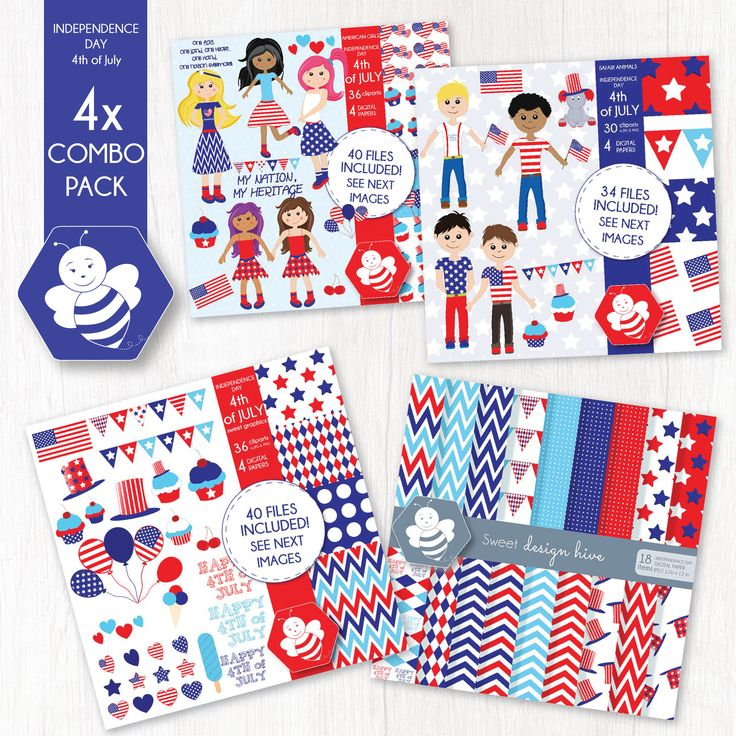 Independence Day 4th of July Combo Pack, 4th of July commercial use, vector graphics, digital clip art, digital images, CP001 by Sweetdesignhive on Etsy