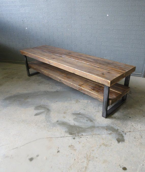 Black Coffee Table Sheffield: Industrial Chic Style Reclaimed Custom Coffee Table TV