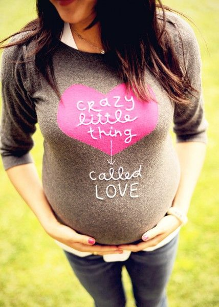 pregnancy announcement - Old Navy sweater hand stitched by Amy Tangerine
