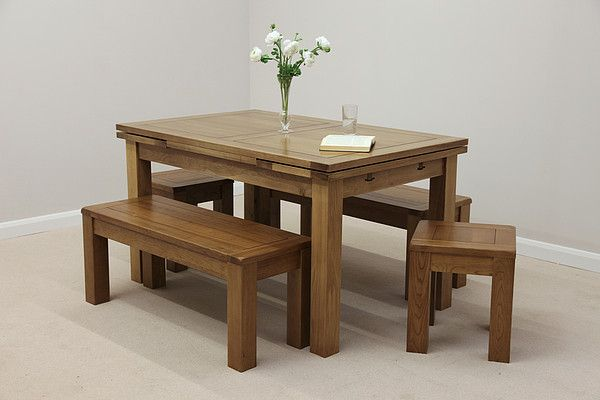 "Rustic Solid Oak Dining Set - 4ft 7"" Extending Table with 2 x 3ft 7"" Benches"
