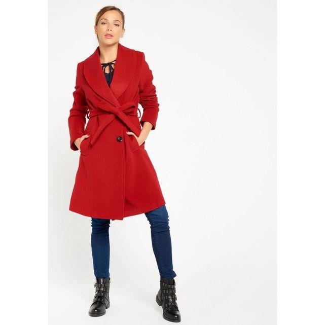 Manteau rouge mi long avec ceinture