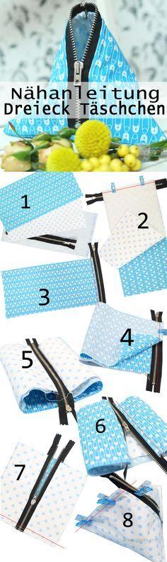 Nähanleitung Dreieck Täschchen | Reißverschluss Täschchen | sewing | nähen…