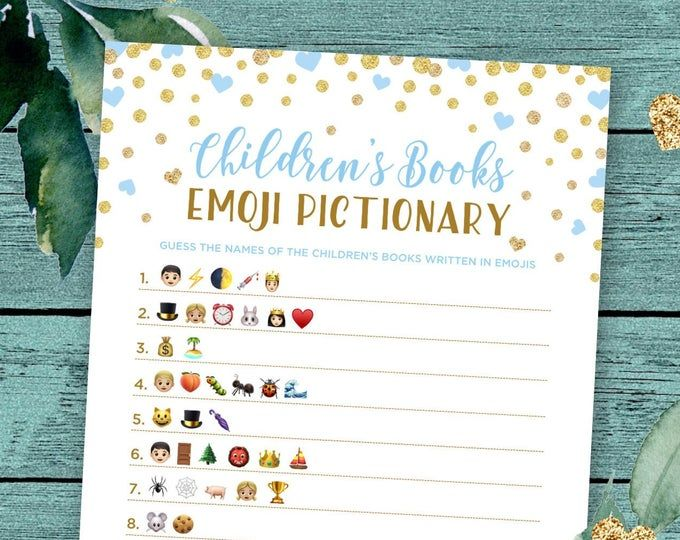 Children S Books Emoji Pictionary Game With Whimsical Gold Stars Answers Included Instant Download Diy Printable 85ba Baby Shower Games Printable Bridal Shower Games Baby Shower Activities