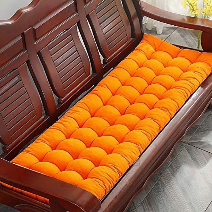 Homay Coussin Rembourre Pour Banc De Jardin 2 Ou 3 Places Avec Attache Antiderapante 120x48cm Orange En 2020 Banc Jardin Bancs De Terrasse Coussin Banc
