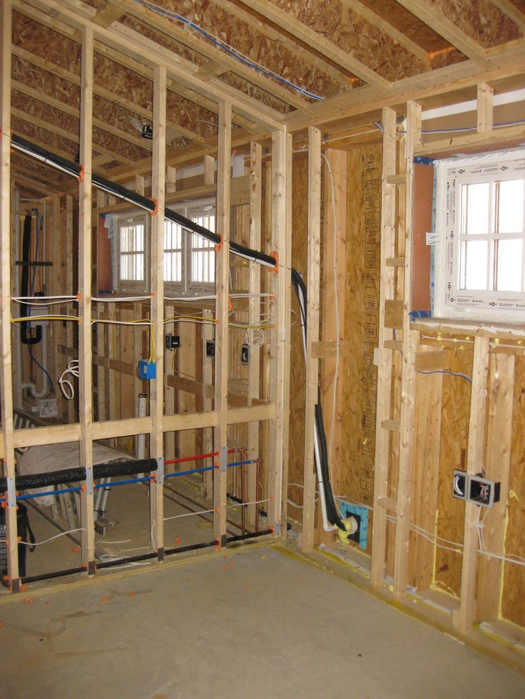 This photo shows the double stud wall. The 10-inch-deep wall cavity will later…