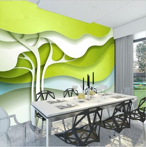 3D Abstract Green Trees Modern Wallpaper Home or Business