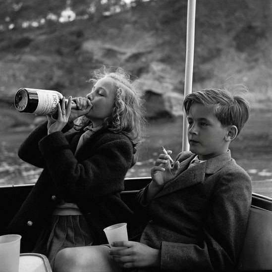 "A photo from 1954 of Princess Yvonne and Prince Alexander of Sayn-Wittgenstein-Sayn on board Bartholomé March's yacht, Majorca, Spain. It's like a Teutonic, black and white, post-war, pre-pubescent ""Skins."" But, y'know, better in every conceivable way."