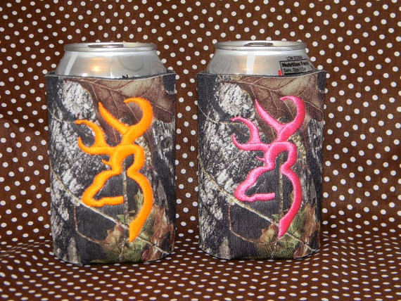 Camo Koozies with Browning logo embroidered by NurseryRhymeDesigns, $10.00