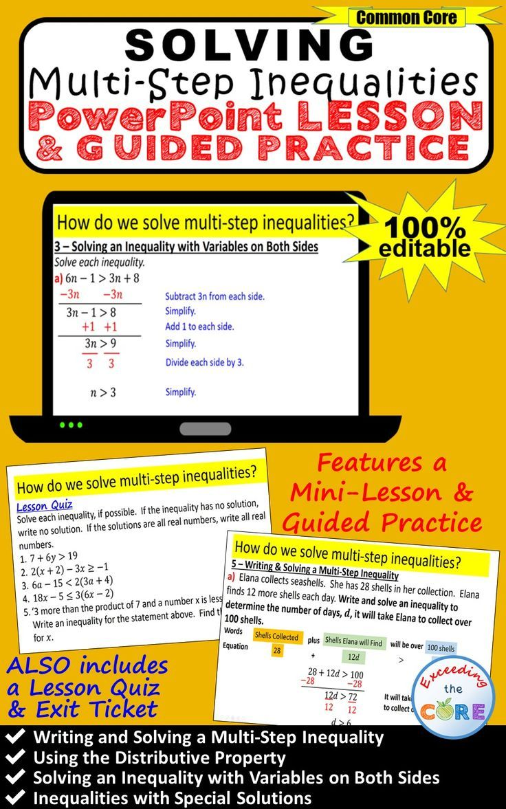 Get Your Students Successfully Solving Multi Step Inequalities With This Powerpoint Presentation This Lesson Multi Step Inequalities Powerpoint Lesson Lesson