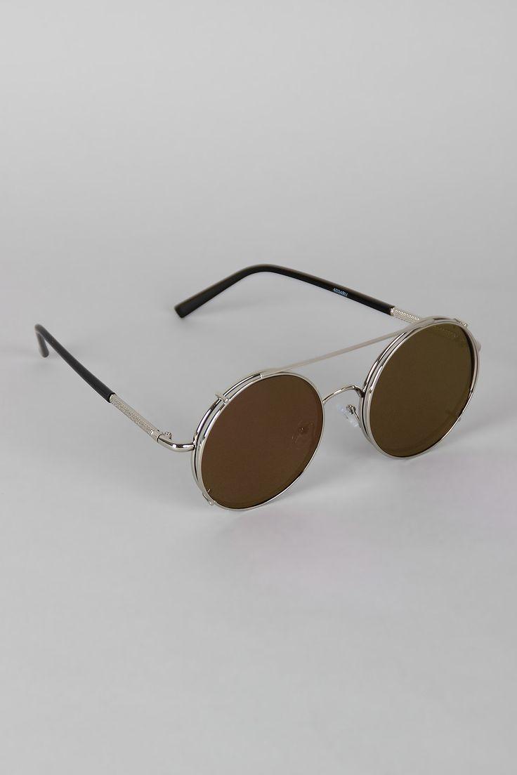 Metallic Trim Round Frame Clip-On Sunglasses
