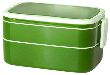 Mulberry Double Stack Bento Box with Handle, Lime - contemporary - Lunch Boxes And Totes - 2Shopper, Inc.
