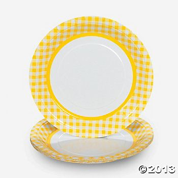 Yellow Gingham Dinner Plates  sc 1 st  Pinterest & Best 49 Happy Strong * Farm / Tractor Birthday Party images on ...