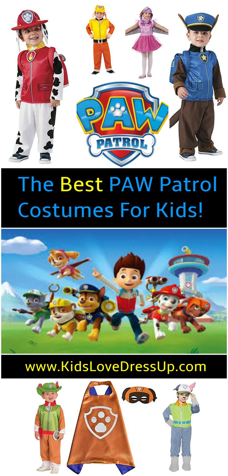 Looking for a PAW Patrol Costume for your pup lover? Check out the best PAW Patrol kids costumes, PAW Patrol dress up clothes, and accessories here!   PAW Patrol Costumes, Skye Costume, Rubble Costume, Marshall Costume, Tracker Costume, Rocky Costume, Zuma Costume, Everest Costume, Chase Costume