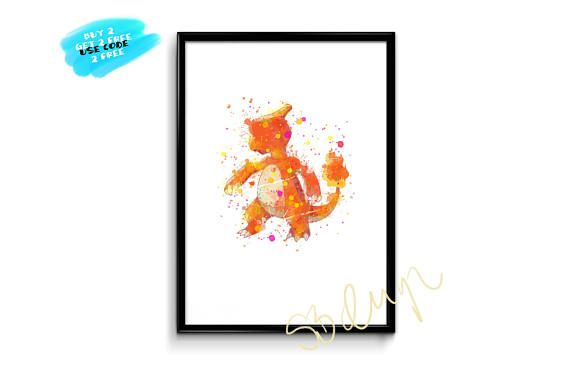 Charmeleon Pokemon Watercolor Prints Charmander Evolution