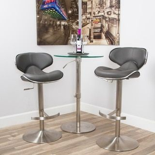 Ecco Brushed Stainless Steel Adjustable Height Swivel Bar Stool by Matrix