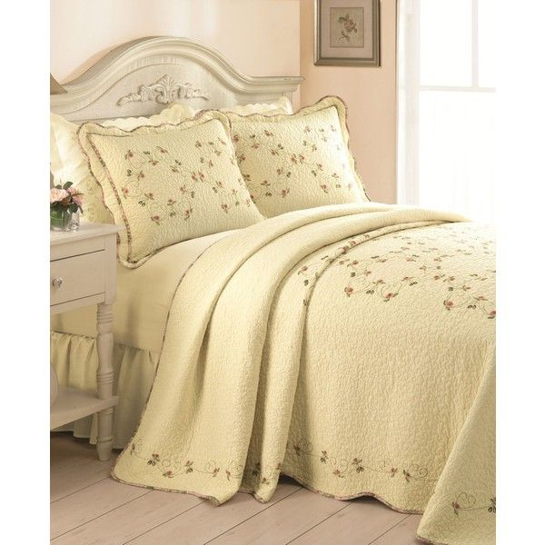 Rose Garden Twin Bedspread ($67) ❤ liked on Polyvore featuring home, bed & bath, bedding, bedspreads, ecru, ivory bedspread, cotton bedding, embroidered bedspreads, beige bedding and twin bed linens