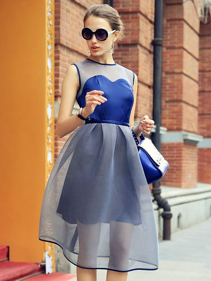 Blue, Contrast, Sheer Panel, Sleeveless, Midi Dress, Skater Dress