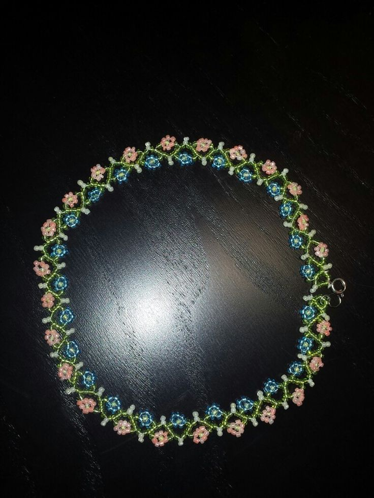 daisy flower vine seed bead necklace