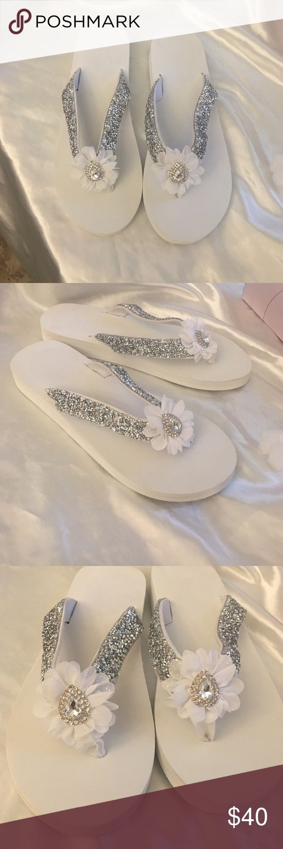 Bridal Bling Flip Flops Brand New custom made Bridal Bling Flip Flops size-11 Custom Shoes Sandals