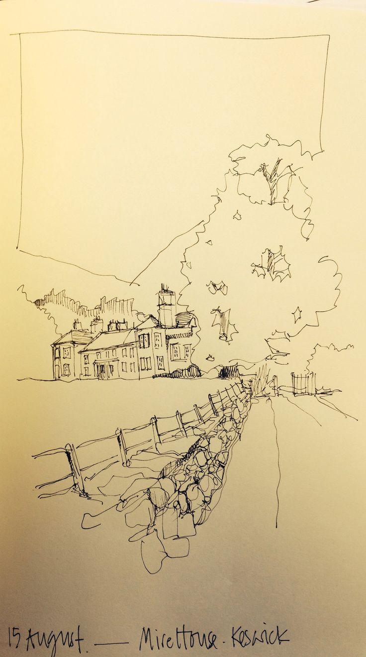 Day 15 of Drawing August ... A line sketch in my Mokeskine: Mire House near Keswick | por John Harrison, artist