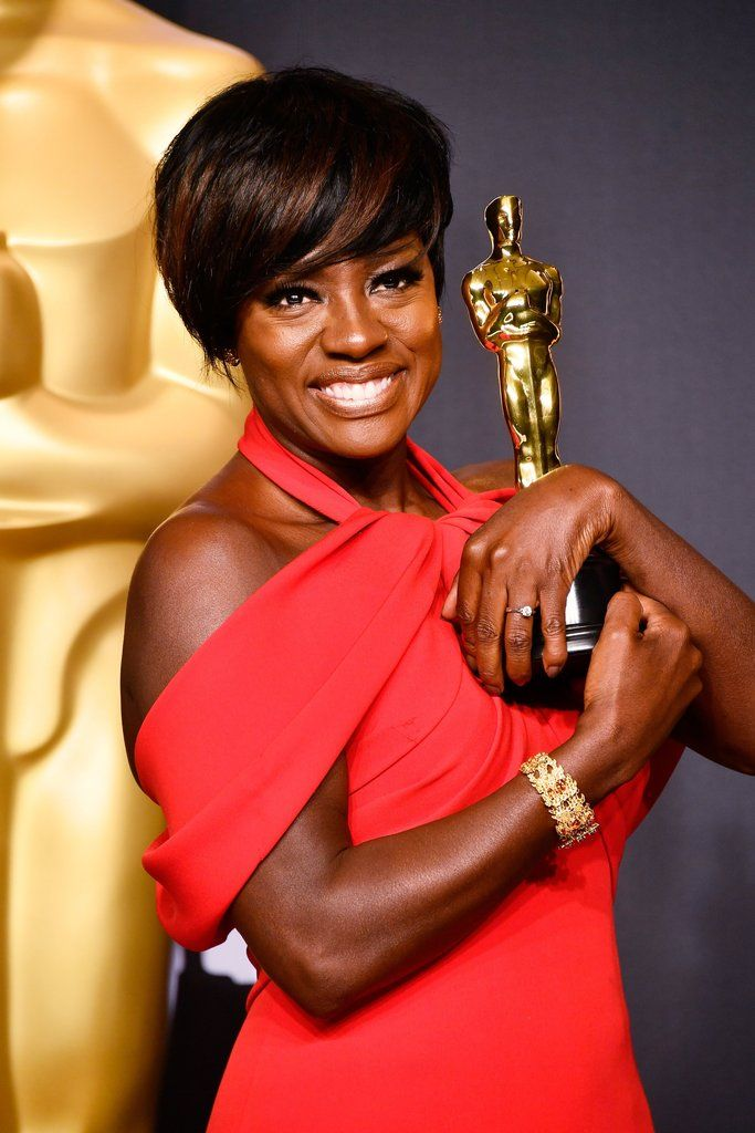 """Viola Davis Wins 2017 Oscar for Actress…  Viola Davis, Oscar 2017 winner for Actress in a Supporting Role for """"Fences"""", poses in the press room during the 89th Academy Awards."""