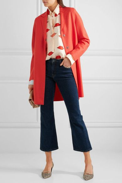 Papaya wool-felt Concealed snap fastenings through front 100% wool Dry clean Designer color: Coral Made in Italy