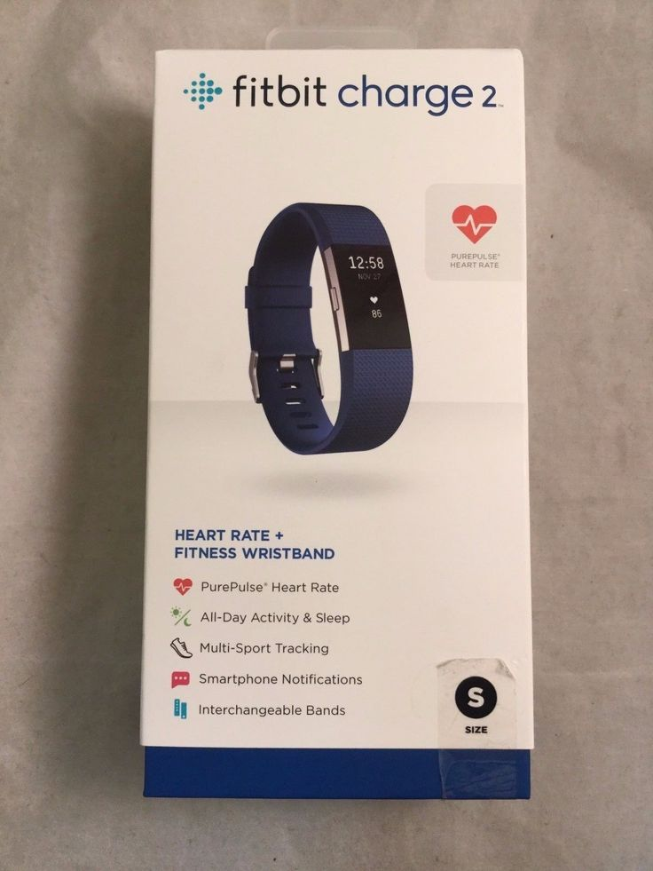 Fitbit Charge 2 Heart Rate  Fitness Wristband - Small Blue (Model FB407SBUS)