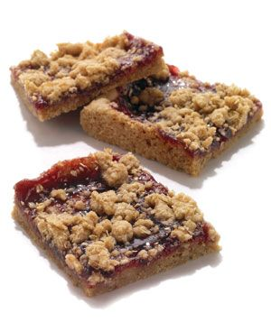 Oatmeal Raspberry-Jam Bars - Lemon zest in the crust lends a bright pop to these simple bar cookies.